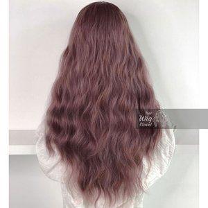 Dusty Pink Ombre Wavy Wig Dk Roots   Rosie